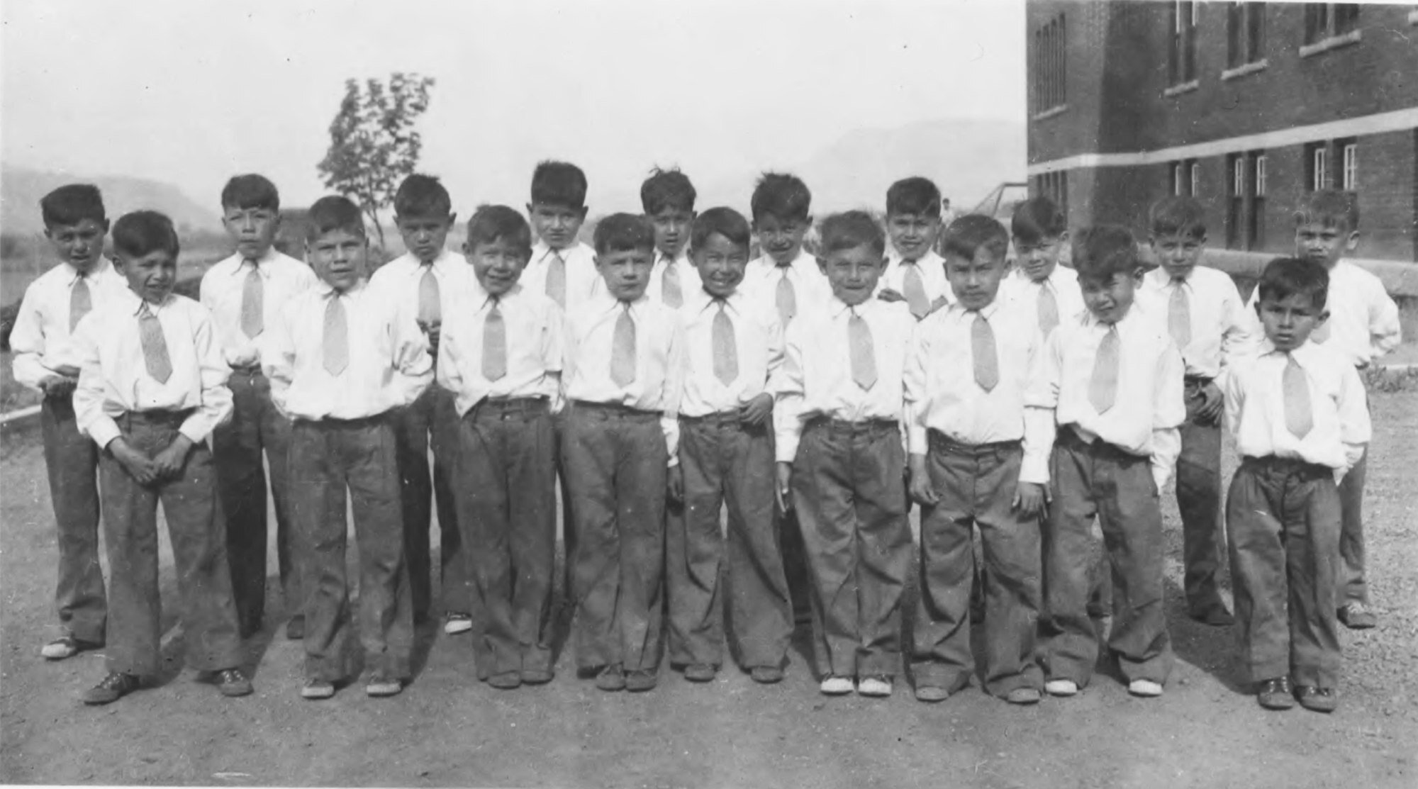 A photo made available by the National Centre for Truth and Reconciliation at the University of Manitoba shows children at the Kamloops Indian Residential School in British Columbia, Canada, in 1944. A mass grave has been located at the site of the school that contains the bodies of 215 children whose deaths went undocumented. Photo: EPA