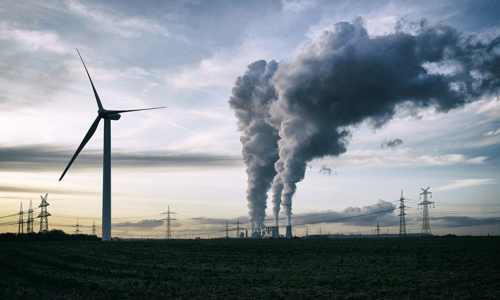 Wind energy versus coal fired power plant